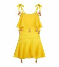 Lazul Tassel Detail Mini Dress Yellow