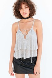 Kimchi And Blue Lace Up Ruffle Tank Top Washed Black