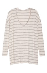Bp. V Neck Long Sleeve Sweater Pink Amour Kora Stripe