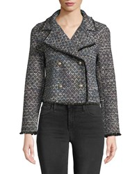 Cupcakes And Cashmere Annica Cropped Tweed Jacket Black