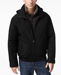Weatherproof Vintage Men's Oxford Hooded Bomber Black