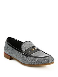 Rag And Bone Dina Leather Loafers Black White Saffia