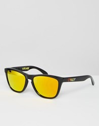 Oakley Square Frogskin Sunglasses With Yellow Flash Lens By Valentino Rossi Black