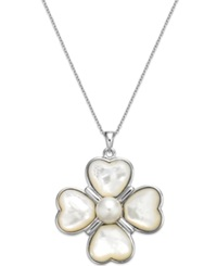 Macy's Cultured Freshwater Pearl Clover Pendant Necklace In Sterling Silver 8Mm White
