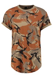 G Star Gstar Felor Camo Relaxed R T S S Regular Fit Print Tshirt Berge Cubano Camel