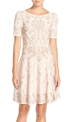 Ivanka Trump Metallic Fit And Flare Sweater Dress Heather Pink