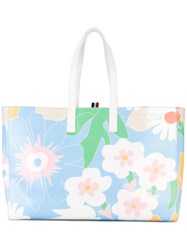 Thom Browne Floral Printed Shopping Bag Women Calf Leather One Size Blue
