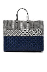 Truss Fwrd Exclusive Large Tote In Blue White Checkered And Plaid Blue White Checkered And Plaid