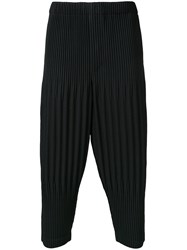 Homme Plisse Issey Miyake Pleated Cropped Length Trousers Black