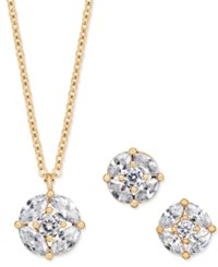 Charter Club Gold Tone Cubic Zirconia Circle Pendant Necklace And Stud Earrings Only At Macy's