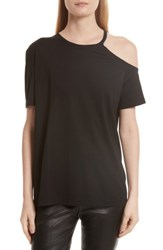 Helmut Lang Women's Deconstructed Pima Cotton Tee Black
