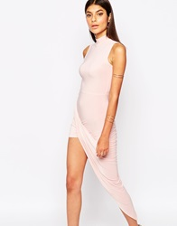 Club L Slinky High Neck Dress With Ruched Wrap Skirt Detail Nudepink