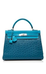 Heritage Auctions Special Collections Hermes 32Cm Cobalt Blue Jean And Blue Thalassa Ostrich Swift Leather And Clemence Leather Retourne Kelly