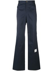 Thom Browne Straight Leg Tailored Trousers Cotton Blue