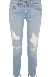 Rag And Bone Capri Distressed Low Rise Skinny Jeans Light Denim