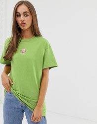 Daisy Street Relaxed T Shirt With Elephant Graphic Green