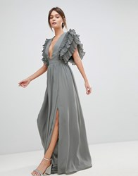 a93f3e38d41 True Decadence Premium Plunge Front Maxi Dress With Shoulder Detail Grey
