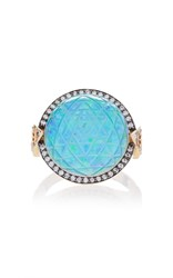 Noor Fares Sri Yantra Carved Rock Crystal Ring In Yellow Gold With Black Synthetic Opal Triangle Cut Sapphires And Diamonds Blue