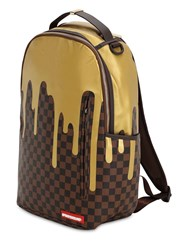 Sprayground Gold Checkered Faux Leather Backpack Array 0X58269b8