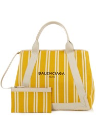Balenciaga Navy Cabas M Cotton Canvas Shopper Yellow Stripe