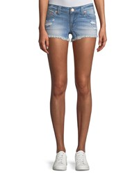 True Religion Joey Distressed Cutoff Denim Shorts Blue