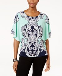 Jm Collection Scroll Print Butterfly Sleeve Top Only At Macy's Green Artist Paisley