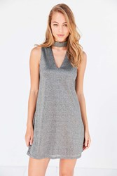 Silence And Noise Shimmer Cutout Mock Neck Mini Dress Silver