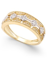 Macy's Diamond Deco Hexagon Ring 1 4 Ct. T.W. In 14K Gold With White Gold Accents Two Tone