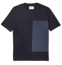 Folk Slim Fit Shell And Cotton Jersey T Shirt Blue