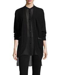 Eileen Fisher Curved Cashmere Cardigan W Leather Trim Women's