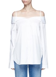 Tibi Off Shoulder Satin Poplin Shirt White