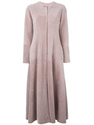 Giambattista Valli Long Flared Coat Pink Purple