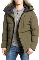 Canada Goose Men's 'Carson' Slim Fit Hooded Packable Parka With Genuine Coyote Fur Trim Military Green