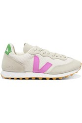 Veja Rio Branco Rubber Trimmed Mesh And Vegan Suede Sneakers Off White