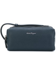 Salvatore Ferragamo 'Lavagna' Wash Bag Men Calf Leather One Size Blue