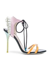 Sophia Webster Leather Maribel Frill Heels In Neon Black Purple Ombre And Tie Dye
