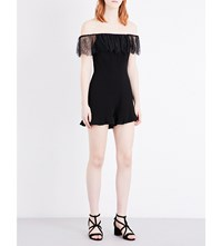 Sandro Lace Trimmed Crepe Playsuit Black