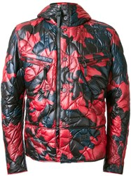 Kru Camouflage Hooded Puffer Jacket Red