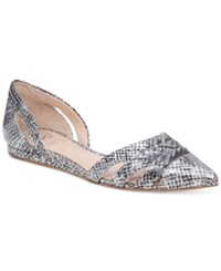 Vince Camuto Halette Pointed Toe Cutout Flats Women's Shoes Silver