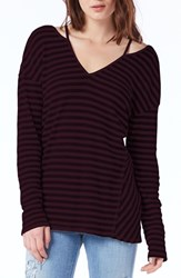 Michael Stars Women's Cutout Shoulder Stripe Thermal Top Pinot