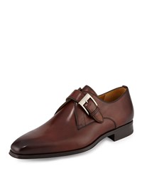 Magnanni For Neiman Marcus Buckle Strap Leather Loafer Mid Brown