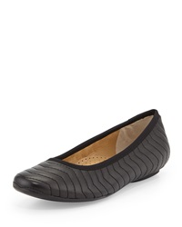 Neiman Marcus Shanna Quilted Ballerina Flat Black