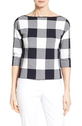Nordstrom Women's Collection Bateau Neck Gingham Sweater