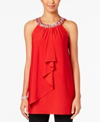 Joseph A Crystal Embellished Ruffle Top Scarlet Sage