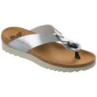 Scholl Kenna Toe Post Flip Flops Silver