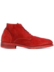 Guidi Ankle Lace Up Boots Men Leather Suede 43 Red