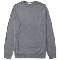 Sunspel Crew Knit Jumper Grey