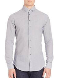 Giorgio Armani Micro Check Long Sleeves Shirt Frost Blue
