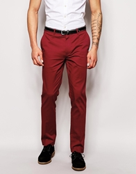 Asos Skinny Fit Smart Trousers Red