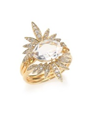Alexis Bittar Fine Golden Ice Marquis Clear Quartz Diamond And 14K Yellow Gold Ring Set